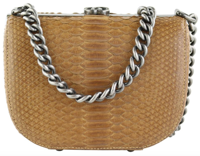 Brown Python Half Moon Bag