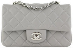 Grey Lambskin Rectangular Mini
