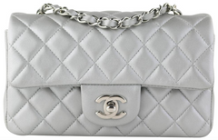 Silver Lambskin Rectangular Mini