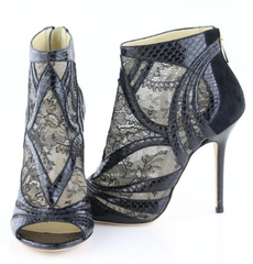 Black Nexus Snakeskin/Lace Booties