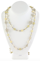 Double Layer Gold/Pearl/Bead Necklace