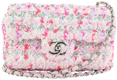 Pink/Silver Tweed Rectangular Mini