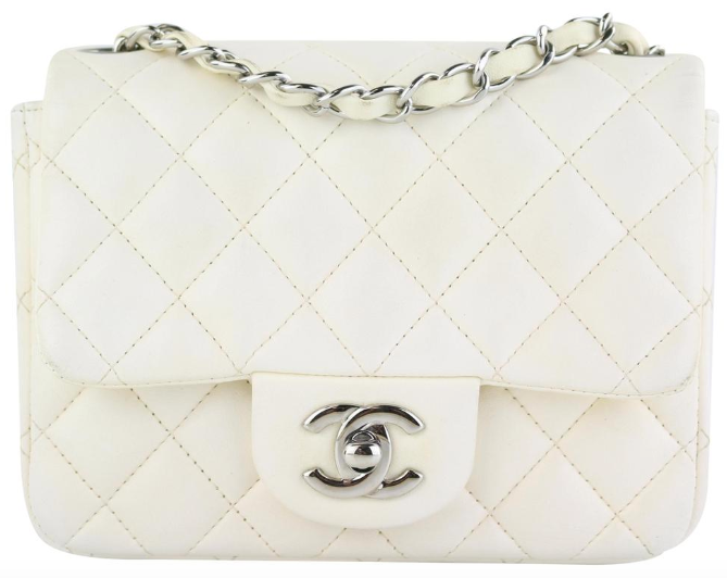 White Lambskin Square Mini