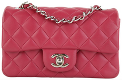Raspberry Lambskin Rectangular Mini