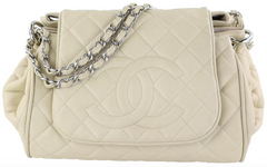 Beige Caviar Timeless Accordion Shoulder Bag