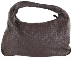 Brown Embossed Intrecciato Hobo