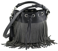 Studded Small Emmanuelle Fringe Bucket Bag
