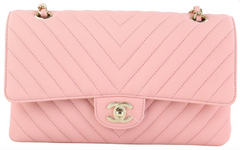 Pink Chevron Caviar Medium Flap