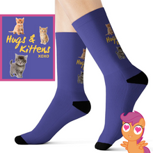 Load image into Gallery viewer, Buy Hugs & Kittens xoxo - Cute Kitten Socks All Over Prints online, best prices, buy now online at www.GrabThisNow.co