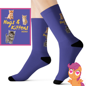 Buy Hugs & Kittens xoxo - Cute Kitten Socks All Over Prints online, best prices, buy now online at www.GrabThisNow.co