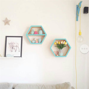 Buy Wooden Hexagonal Shelf Storage & Wall Decoration Home online, best prices, buy now online at www.GrabThisNow.co