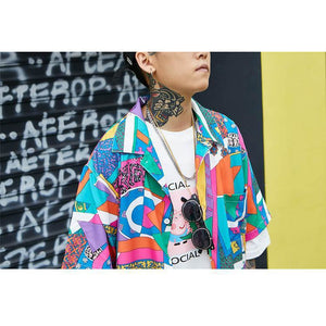 Buy Ukiyo - Loose Hip Hop Shirt Casual Streetwear Shirt T-Shirt online, best prices, buy now online at www.GrabThisNow.co