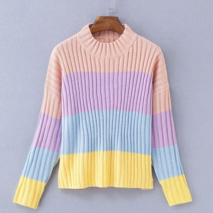 Buy Candy Lazy Oaf - Roll Neck Knitted Jumper In Rainbow Stripe Jumpers online, best prices, buy now online at www.GrabThisNow.co