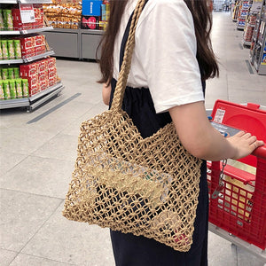 Re-usable Shopping Bag -  Handwoven Fabric Rattan Handbag