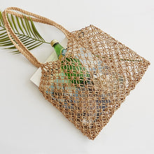 Load image into Gallery viewer, Re-usable Shopping Bag -  Handwoven Fabric Rattan Handbag