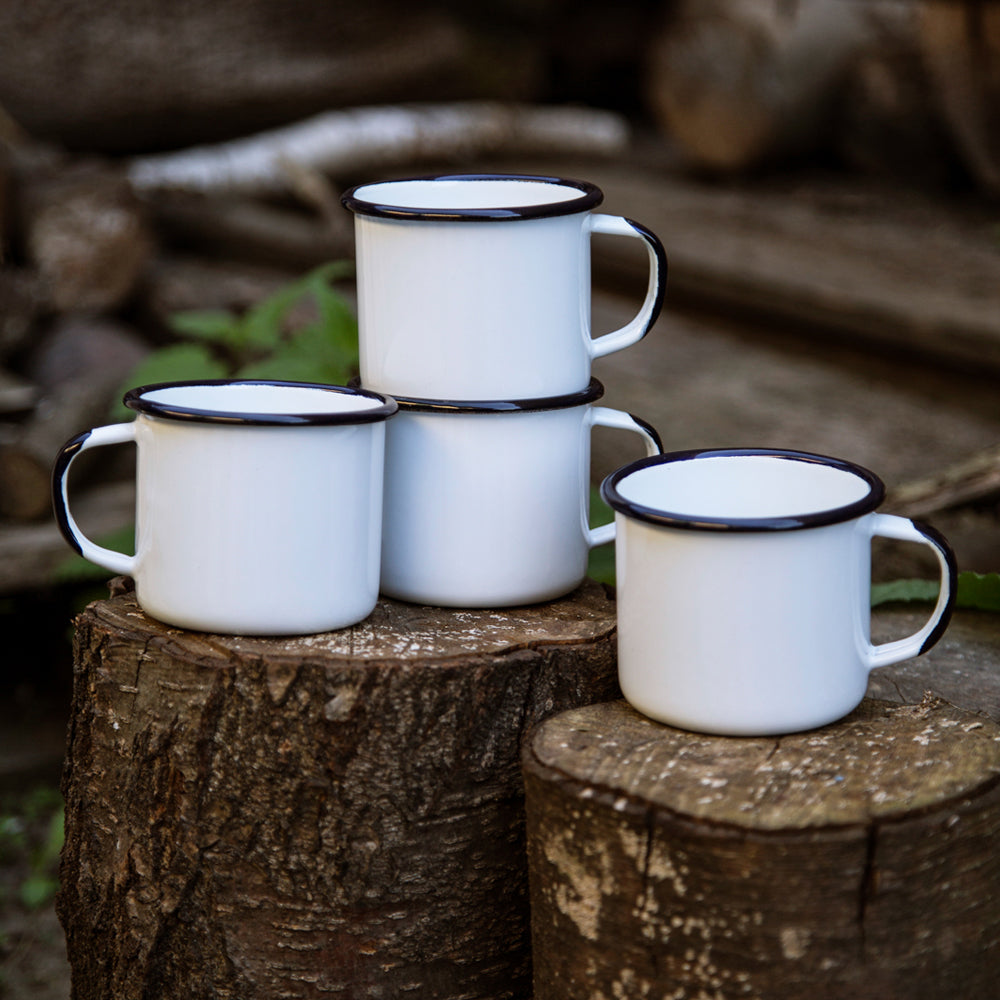 4 ENAMEL COFFEE MUGS | PLAIN