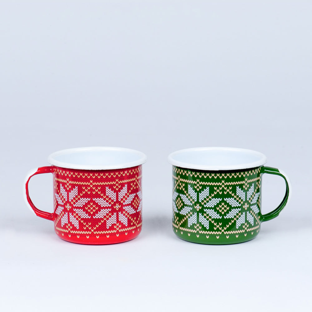 RED & GREEN ENAMEL CHRISTMAS COFFEE MUGS SET | CHRISTMAS