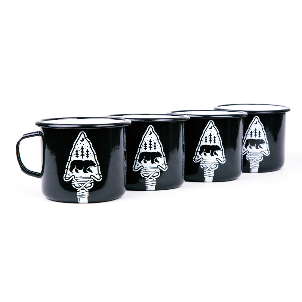 4 ENAMEL COFFEE MUGS | ARROW