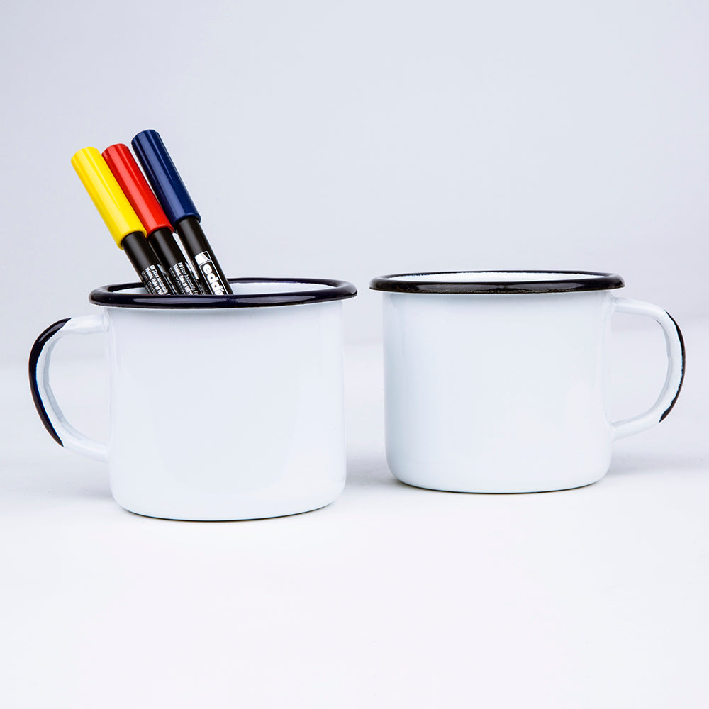 2 ENAMEL COFFEE MUGS WITH 3 MARKERS | PLAIN