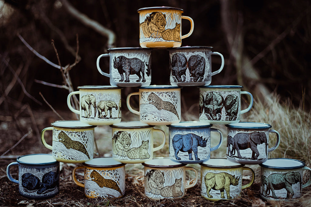 THE BIG 5 ENAMEL CAMPING MUGS SET | THE BIG 5 OF AFRICA