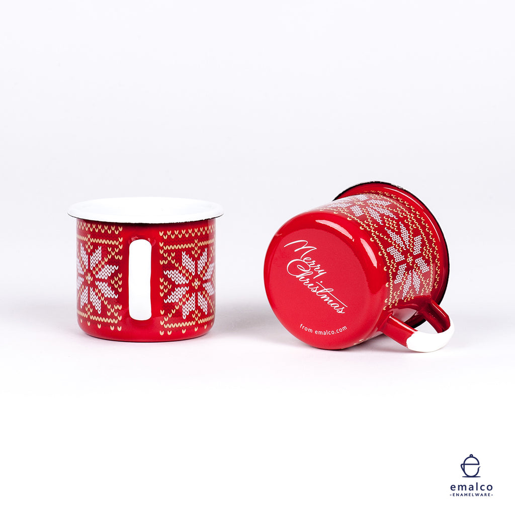 RED CHRISTMAS ENAMEL COFFEE MUG | CHRISTMAS