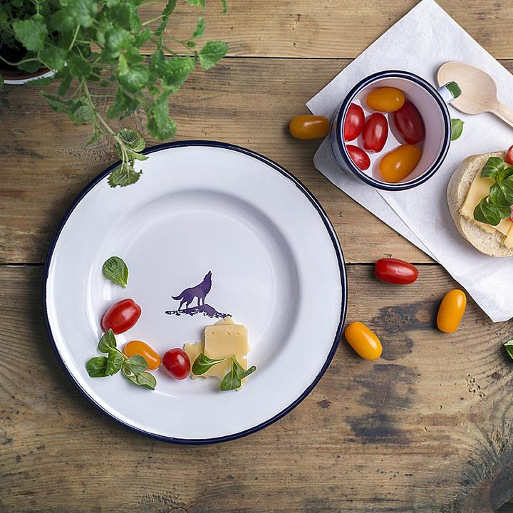WOLF ENAMEL DINNER PLATE | FOREST