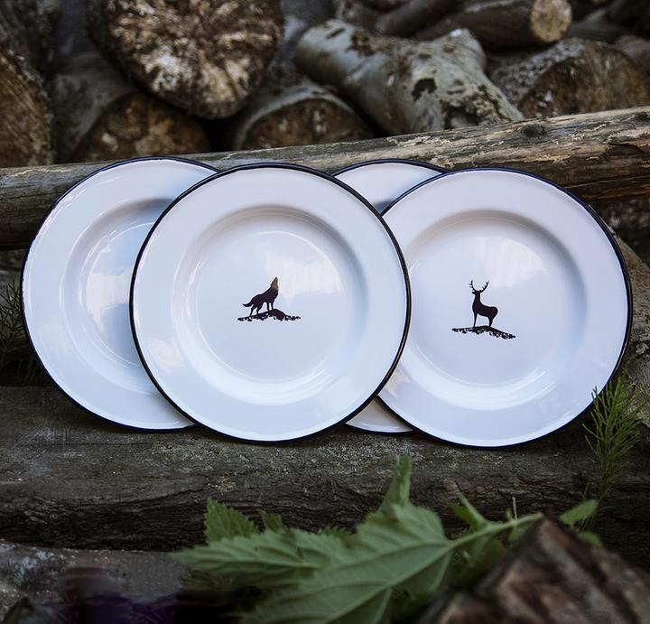 4 ENAMEL DINNER PLATES | FOREST