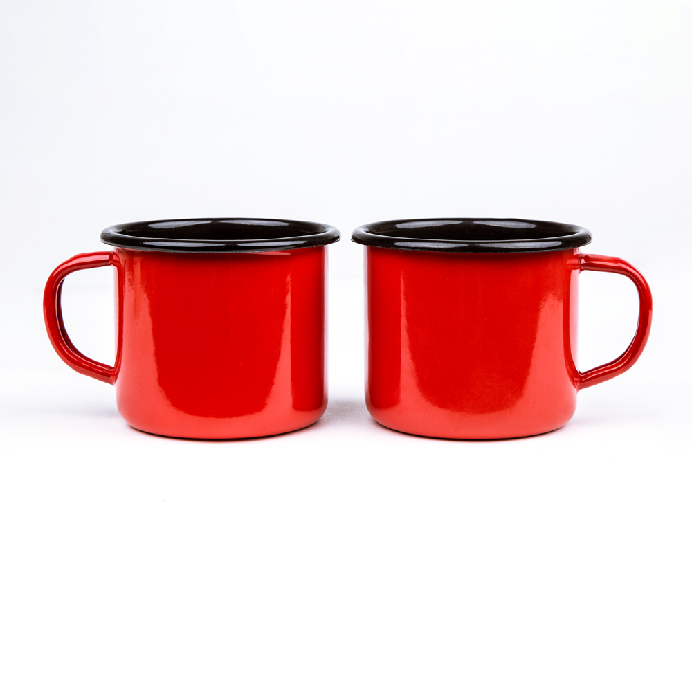 CORAL RED ENAMEL COFFEE MUG | PLAIN B.