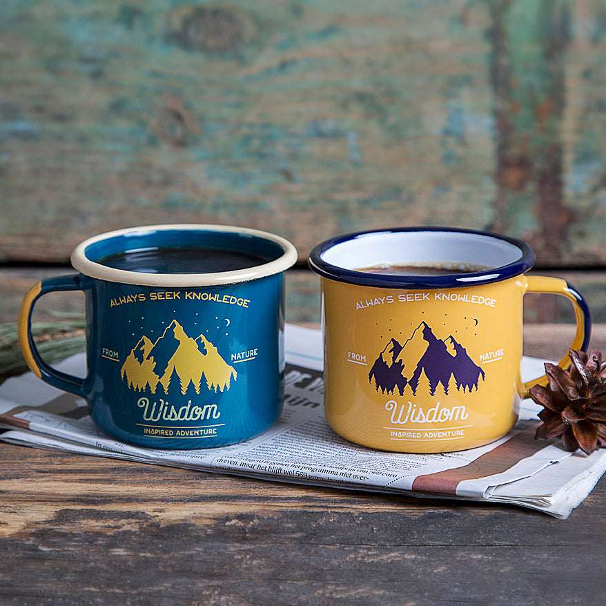 ENAMEL MUGS IN SET FOR TWO | WISDOM