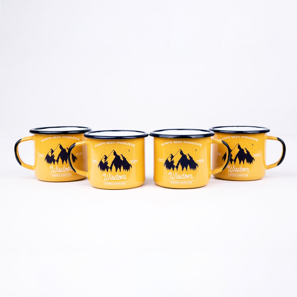 4 APRICOT ENAMEL COFFEE MUGS | WISDOM