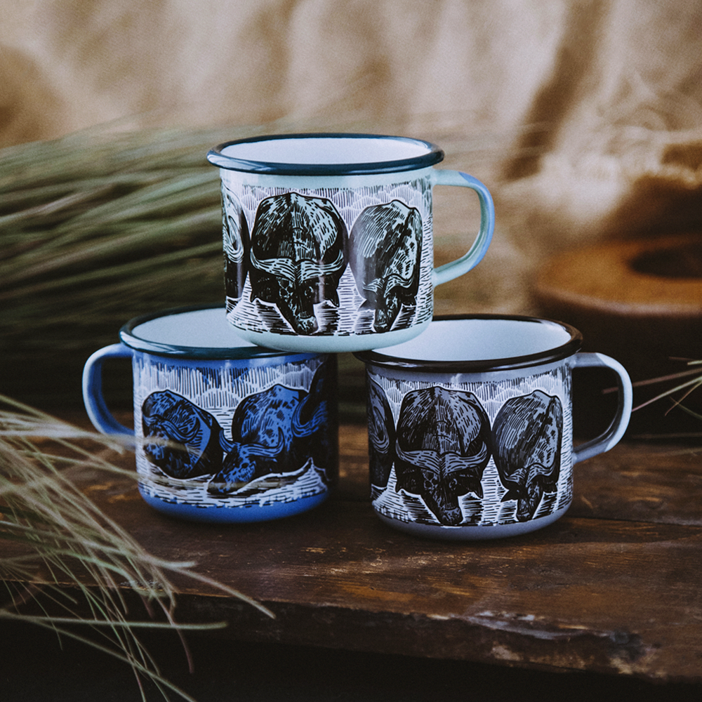 AFRICAN BUFFALO ENAMEL CAMPING MUG | THE BIG 5 OF AFRICA