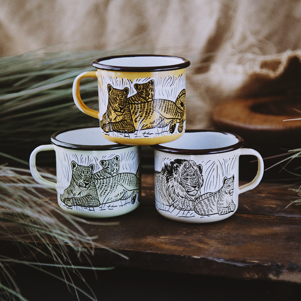 AFRICAN LION ENAMEL CAMPING MUG | THE BIG 5 OF AFRICA