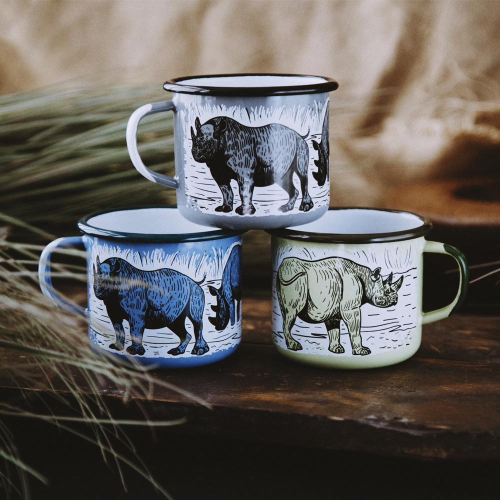 BLACK RHINO ENAMEL CAMPING MUG | THE BIG 5 OF AFRICA