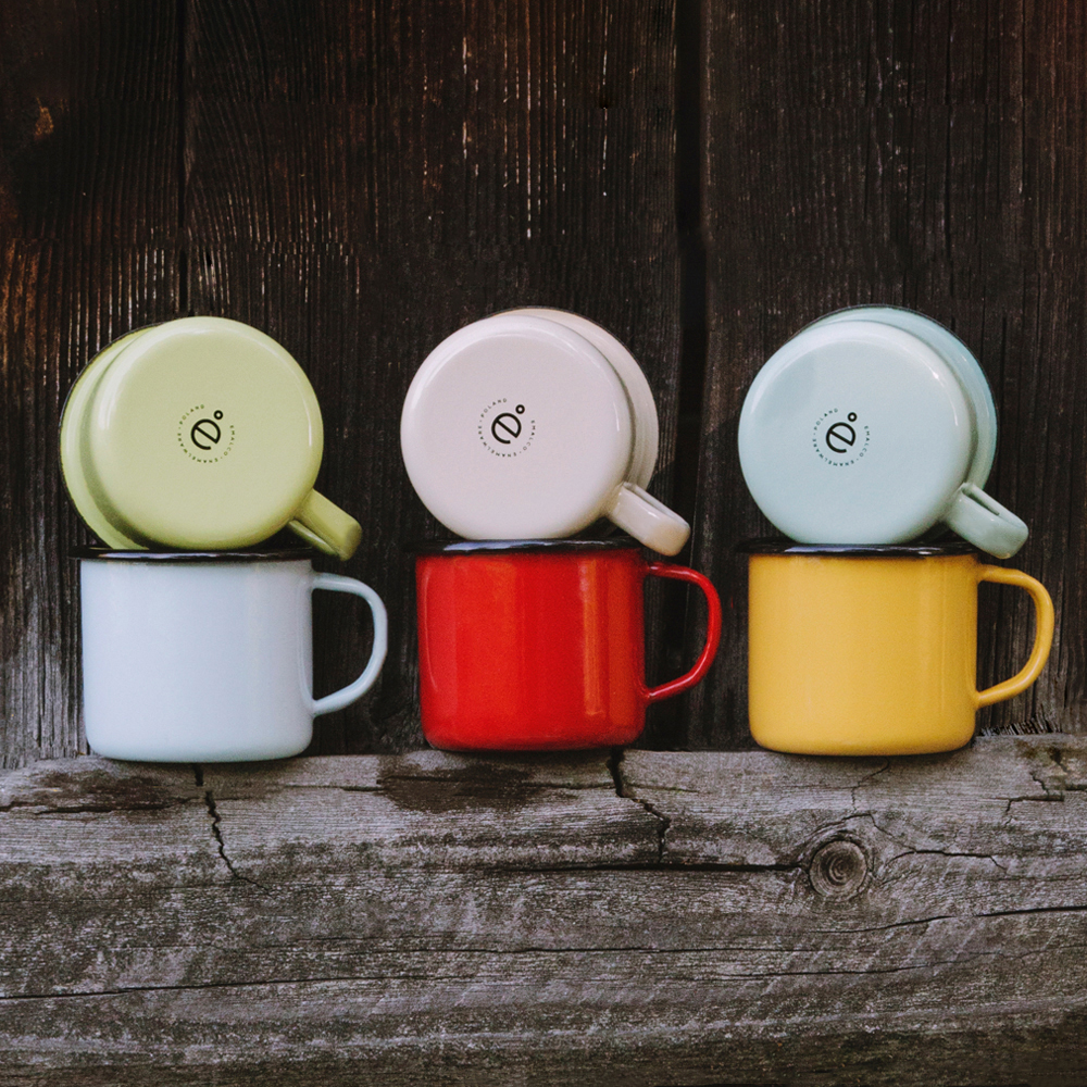 6 ENAMEL COFFEE MUGS SET | PLAIN B.