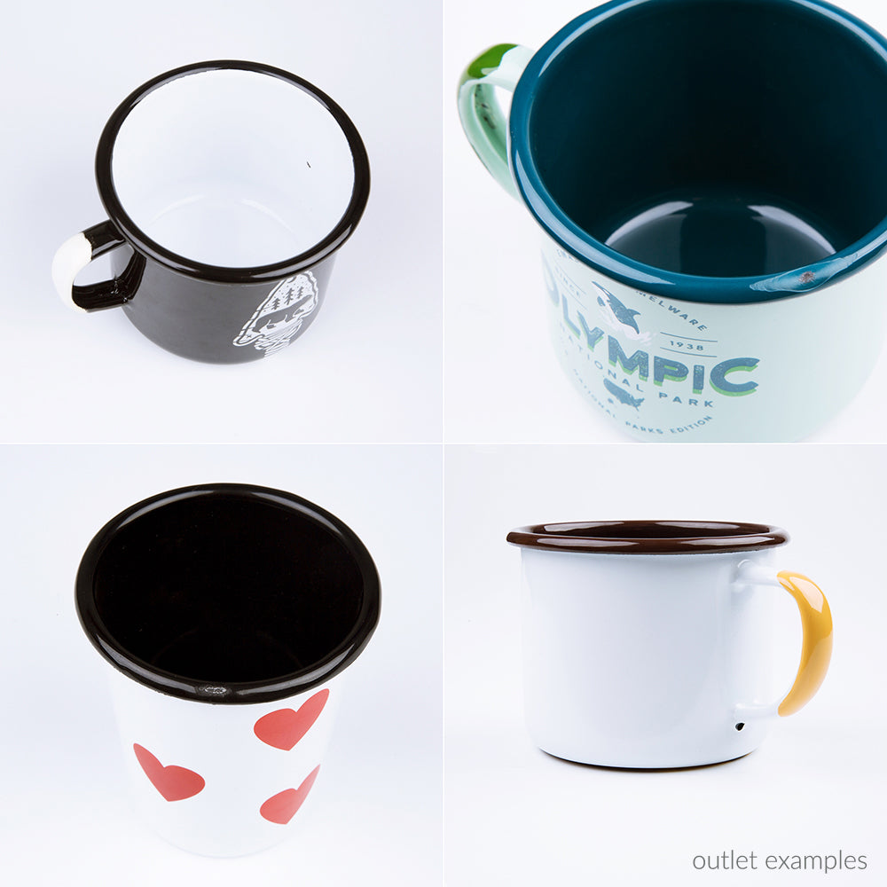 OUTLET - 12 oz / 350 ml enamel coffee mugs, Factory 2nds.