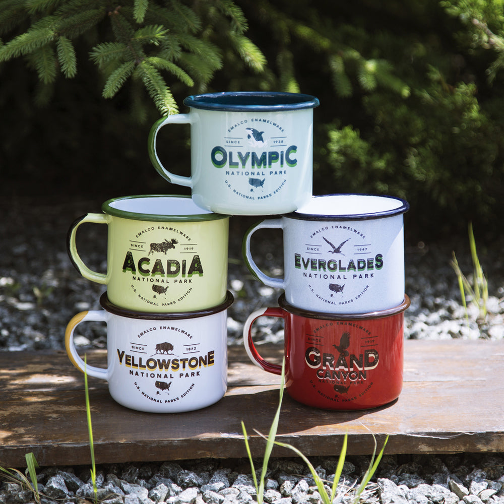 5 ENAMEL CAMPING MUGS SET | U.S. NATIONAL PARKS