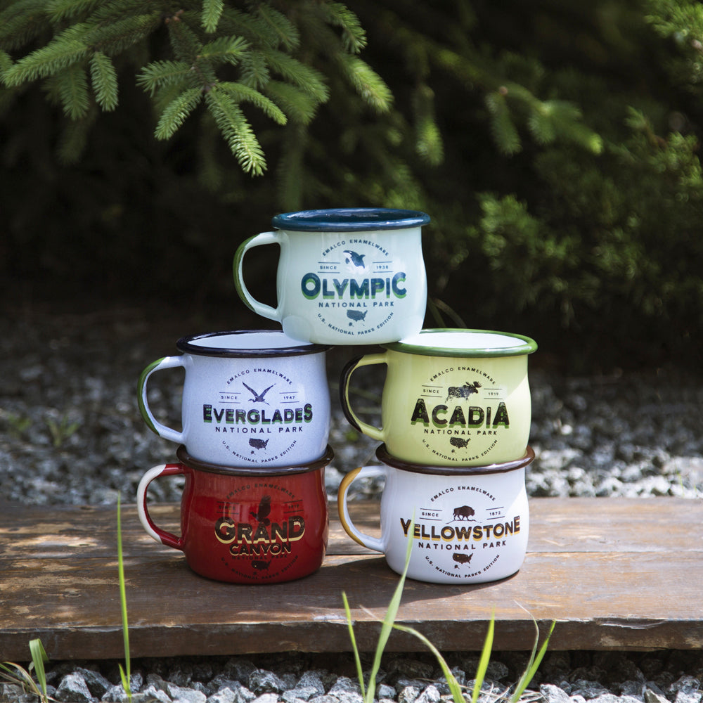5 ENAMEL COFFEE MUGS SET | U.S. NATIONAL PARKS