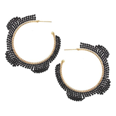 Jeannie Scalloped Beaded Hoop Earrings - The House of Hyacinth