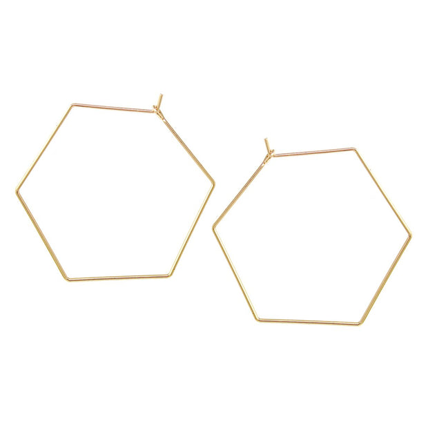 Alyssa Hexagon Shape Hoop Earrings - The House of Hyacinth