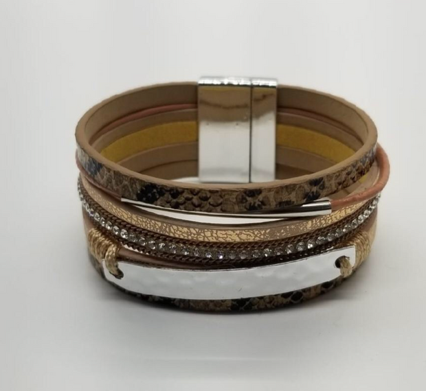 Katherine Multi-Strand Snakeskin and Glass Magnetic Bracelet - The House of Hyacinth