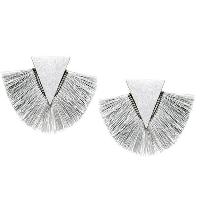 Reba Fringed Leather Triangle Earrings - The House of Hyacinth