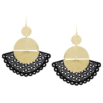 Julia Leather Cutout Linked Half Disc Drop Earrings - The House of Hyacinth