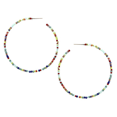 Jen Glass Beaded Hoop Earrings - The House of Hyacinth