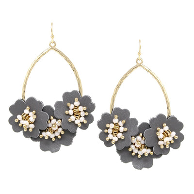 Verona Glass Bead With Faux Leather Flower Cluster Drop Earrings - The House of Hyacinth