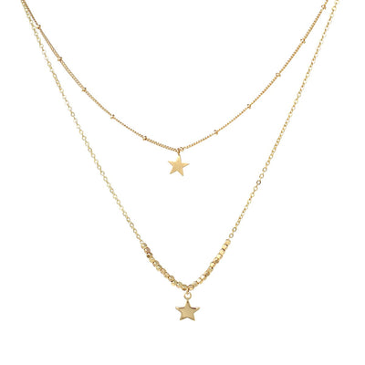 Luna || Star Pendant Double Layer Necklace - The House of Hyacinth