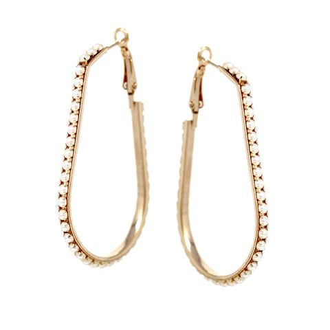 Lela Pearl Bead Embellished Oval Hoop Drop Earrings - The House of Hyacinth