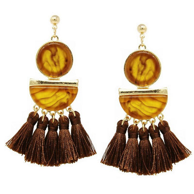 Jo Geometric Drop Earrings With Thread Tassel Fringe - The House of Hyacinth