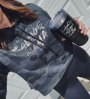 Savage Mama Ladies Cropped Hooded Sweatshirt (Black Camo + Black Glitter)