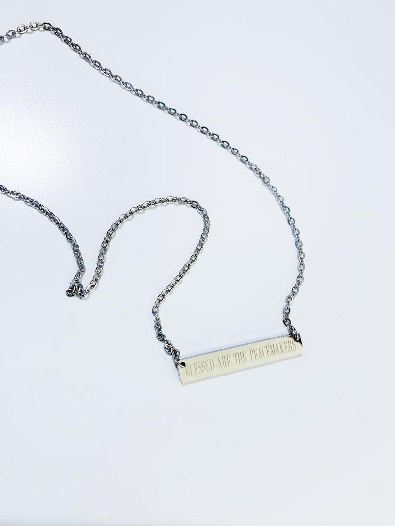 Blessed Are The Peacemakers Stainless Steel Bar Necklace