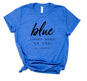 Blue Looks Good On You ©  Unisex Top (Black + Royal Blue Heather)